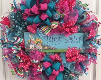 Happy Easter Jute Mesh Wreath