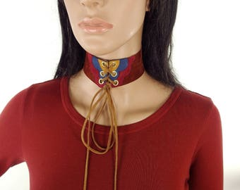 HUZZAR DESIGN Abstract Cloud Suede Choker With Eyelet And Tie Fastening