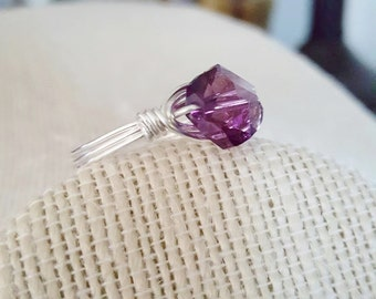 February Birthstone Swarovski Crystal Silver Filled Wire Wrapped Ring Handmade Jewelry