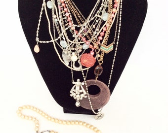 Junk Lot vintage necklace old shabby pieces for harvesting chains charms pendants Beads