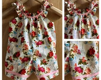 Boho Cotton Shorts Romper, Size 4t