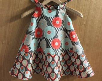 Spring/Summer Retro Print Hippie Boho  Shoulder Tie Dress, girls size 3t