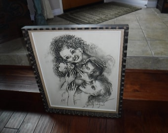 """Philip Evergood """"Two Mothers"""" framed original lithograph"""