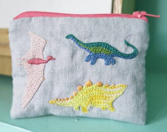 Colourful Dinosaurs Coin Purse - Hand Embroidered - Linen and Cotton - Zipped Purse