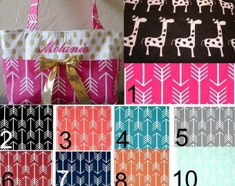 Diaper bag,handbag,purse,book bag..Black Girraffe N Arrows..Choose a Font for name. Match your carseat canopy(see fashionfairytales)