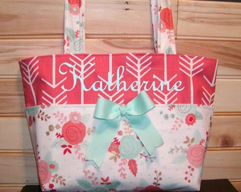 Diaper bag, handbag, purse, book..White Floral N Coral Arrows..with Name and Bow. Match your carseat canopy(see fashionfairytales).