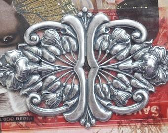 TWO Bracelet Centerpiece, brass stamping, Sterling Silver Ox finish