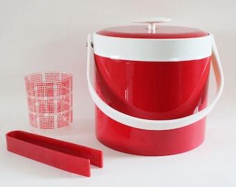 Georges Briard red and white ice bucket, vintage barware, bar, mid century modern