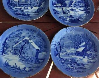 Set of 4 Vintage Winter Homestead Japan wall plates