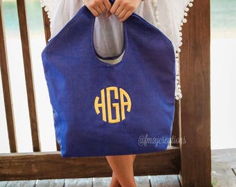 Monogram Beach Tote Jute beach bag | Personalized Beach Bag | Teacher Appreciation Gift | Mother's Day | Gifts for Her | Personalized Tote