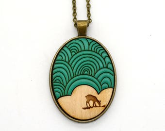 Geometric Nature - Deer with Swirl Sky - laser cut wooden necklace