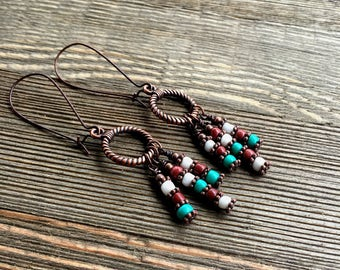 Southwest Beaded Earrings   Copper Beaded Earrings     item 971