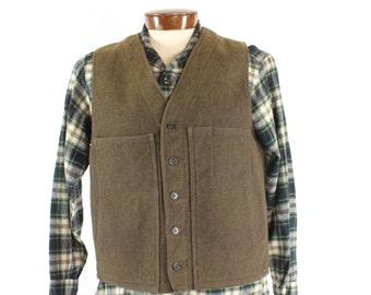 Vintage Filson Heavy Wool Hunting Vest C.C. Filson Co USA Field Medium M Olive Green