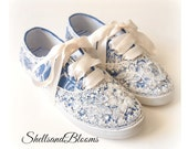 Wedding Bridal Tennis Shoes Sneakers - Royal Blue -   Organza or Satin Laces - Rhinestone Pearls - vintage inspired - flat dancing