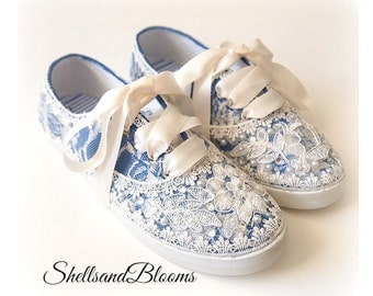 Wedding Bridal Tennis Shoes Sneakers - Royal Blue -   Organza or Satin Laces - Rhinestone Pearls - vintage inspired - flat dancing