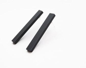 Black bar studs, geometric studs, black earrings, minimal studs, futuristic earrings, laser cut studs, black studs, bar posts