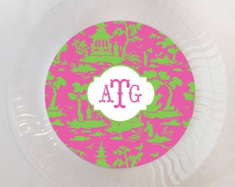 Personalized Pink and Green Chinoiserie Plastic Plates - Set of 12