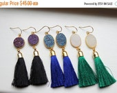 20% SALE - Gold Druzy Earrings Tassel Fringe Druzy Earrings Drusy Jewelry - Christmas Gift Tassel Statement Jewelry - Gold Fringe Jewelry Ta