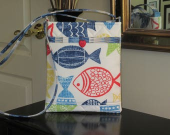 Red, Blue and Yellow Whimiscal Fish Print on a White Background with Outside Front Pocket Small Quilted Crossbody/Shoulder Bag
