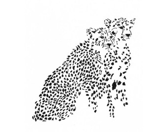2 Cheetahs - Ink Sketch, Ink Drawing, Pen and Ink, Black and White, Fine Art Print, Giclee, Original Art, African, Spots, Animal Print