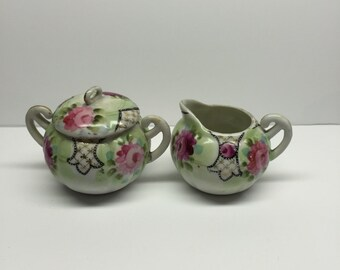 Made in Japan Sugar Bowl and Creamer  Pink green and gold