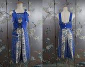 Vintage 1930 - 1940s JUMPSUIT summer CORSET waist Cotton Romper PLAYSUIT