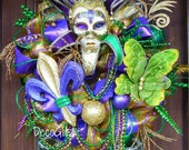 MARDI GRAS Wreath, FAT Tuesday Wreath, New Orleans Wreath, Fleur-De-Lis Wreath, Jester Mask Wreath
