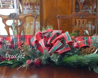 Elegant CHRISTMAS EVERGREEN CENTERPIECE with Traditional Tartan Red Plaid Bow and Lights on Frosted Twig Berries