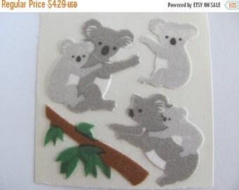 ON SALE Vintage Sandylion Fuzzy Koala Sticker Mod - 80's Australia Cub Eucalyptus