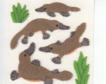 SALE Platypus Sandylion Rare Vintage Fuzzy Stickers - 80's Sea Creature Mammal Scrapbook Collage