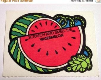 SALE Watermelon Scratch and Sniff Vintage Mello Smello Sticker - 80's Melon Scented