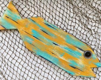 Nautical Decor - Wood Fish - Island Decor - Folk Art Fish - Coastal Art
