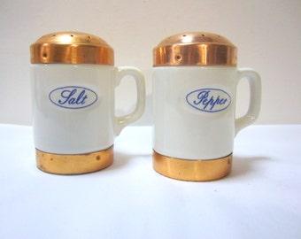Vintage Porcelain and Copper Salt & Pepper Set