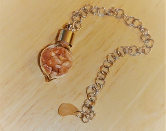 "Red Aventurine Dowsing Pendulum - 6"" chain, Stone of Possibilities and Positive Energy, Power Stone to Aries and Scorpio"
