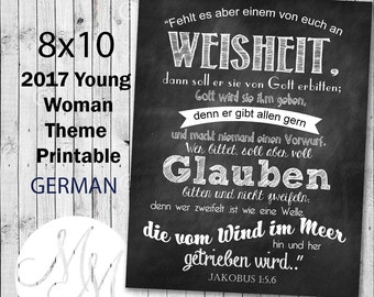 8x10 2017 Mutual Theme Poster. If any of you lack wisdom. GERMAN. Digital. Young Woman Printable