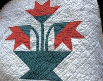 ANTIQUE QUILT BLOCK, vintage fabric, tulip appliqué, hand sewn, turkey red, green