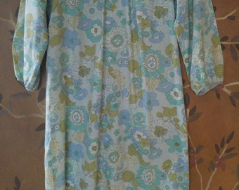60s flower power green and blue dress by Stacy Ames