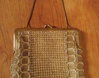 60s metallic gold thread woven purse with chain handle by Princess Bags