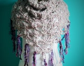 Custom Flower of Life Crochet Triangle Scarf, Purple, Fringe,Neck Wrap,Neck Scarf, RESERVED for Victoria