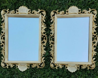 Pair of Matching Gold Ornate Floral Homco Mirrors - Set of Matched Mirrors