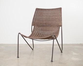 Mid Century Iron & Wicker Chair