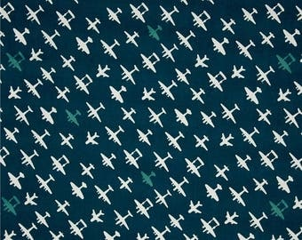 Airplanes Brigade on Mid Blue From Birch Organic Fabric's Trans-Pacific Collection by Jay-Cyn Designs