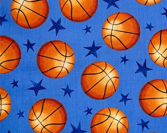 Allstar Basketballs on Blue from Fabri-Quilt's Sports! Collection