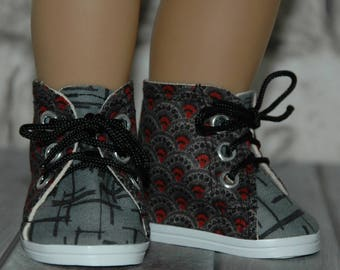 High Top, tennis shoes, grey, black, red, cotton fabric, made for 18 inch doll, like American Girl, doll shoes, doll clothes