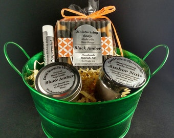 Black Amber - 4pc Gift Set - Soap - Sugar Scrub - Soy Candle - Lip Balm - Mother's Day - Metal Basket - gift for her - gift for him