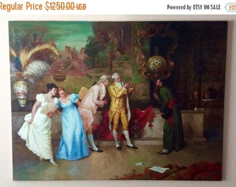 Sale Antique Vintage Oil Painting 18th C. Style Rococo Interior Scene Signed O/C Art Home Decor