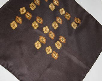 Vintage Silk Pocket Square Scarf Brown with Gold 13.5 x 13.5""
