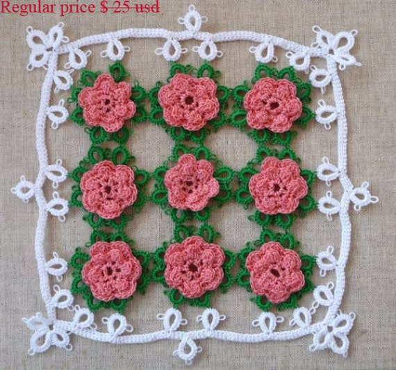 Tatting Rose Doily Home Decor Gift For Her Housewarming Gift