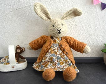 Cloé, crochet bunny and her little bear, crochet rabbit, crochet toy, Ready to ship