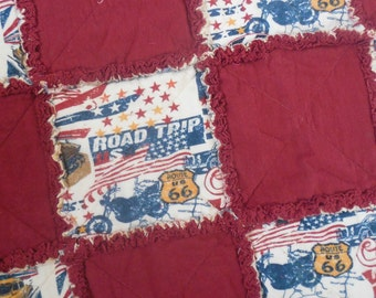 Route 66 Road Trip All Flannel Rag Quilt